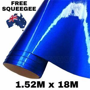 1.52M x 18M CANDY GLOSS DARK BLUE METALLIC CHROME CAR VINYL WRAP FILM STICKER