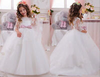 Long Sleeve Ball Gown Flower Girl Dress Pageant Party Dress For Wedding