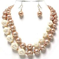 Chunky Multi Layered Gold Cream Pearl Earrings Necklace Jewelry Set