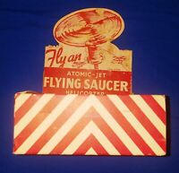 """UNIQUE VINTAGE TIN TOY """"ATOMIC-JET FLYING SAUCER"""" NEW OLD STOCK ONLY 4 REMAIN"""
