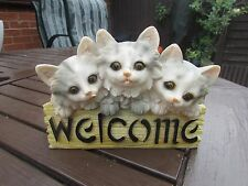 """latex mould mold of 3 kittens welcome plaque 6"""" long x 4"""" tall"""