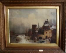 DUTCH SCHOOL Antique Romantic Winter Landscape Oil Painting SIGNED c1880