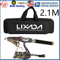 Travel Fishing Rod Reel Combo Telescopic Fishing Pole Spinning Reels +Bag Z6F9