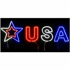 New listing Led Patrioitc Usa Letter and Star Lights Yard Sign 72'' x 22'' Red White Blue