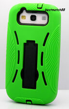 for samsung galaxy S3 built in stand soft hard case 2 layers green  i9300 /S III