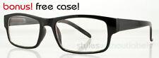 Trendy 80s Retro Square Style Glasses Clear Lens Nerd Hipster Black Tortoise