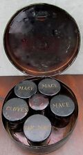 19TH CENTURY SHAKER TOLEWARE KITCHEN SPICE CANISTER SET SPICE BOX