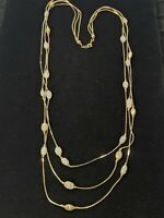 """Vintage Gold Tone Triple Strand White Glass Station Bead Necklace 24.5"""""""