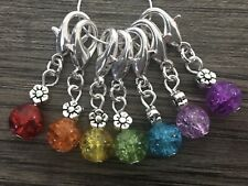 Knitting Crochet Stitch Markers 8mm Crackle Beads Flower Beads