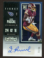 2017 Contenders #237 Zach Pascal Auto RC #ed 72/99