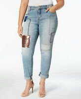 INC International Concepts Plus Women sz 18W Slim Fit Patchwork Boyfriend Jeans