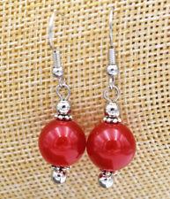 12mm Jewelry Red Ruby Jade & Tibet Sterling Silver Stud Earrings