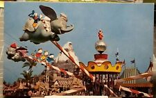 1950's DISNEYLAND Flying Dumbo Ride Donald Duck with Huey Dewey & Louie Postcard