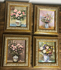 "Set of 4 Floral Prints in Gold Frames- Approx. 4"" x 4.75"" Victorian"