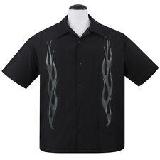 Steady Clothing Vintage Bowling Shirt - Flame N Hot Schwarz Rockabilly Gothic