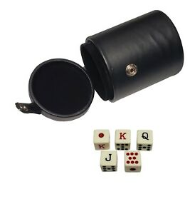 Deluxe Dice Cup Black Faux Leather + 5 Poker Dice Cream With Storage Compartment