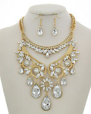 Elegant Crystal Teardrop Clear & Metal Bridal Prom Formal Statement Necklace Set