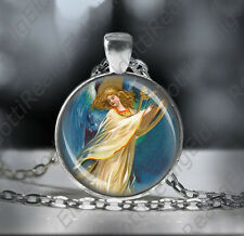 Guardian Angel Playing a Harp Necklace - Religious Jewelry Medal Pendant w Chain