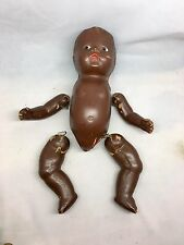 Vintage Jointed Composition/Compo Black Baby Doll With Hair Tufts