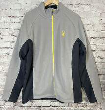 Spyder Mens Sweater Full Zip Jacket Gray Yellow Fleece Interior Size XL