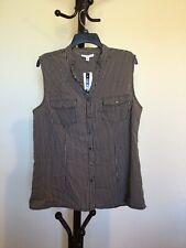 NWT Women' NOTATIONS Crew V-neck Sleeveless Button Gray/Black Stripe Top Size XL