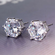 Classic style 18k white gold filled round cut white topaz party stud earring