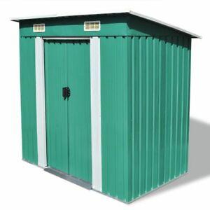 vidaXL Garden Shed Green Metal Outdoor Patio Storage Organiser House Cabin