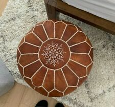SALE ** Nice MOROCCAN LEATHER POUF OTTMAN With Top Embroidery in Tan & White