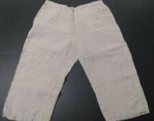 "L.L. Bean Khaki Linen Cropped Capri Pants Size 16 Elastic Waist 38"""