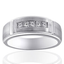 0.55 Carat Mens Princess Cut Diamond Wedding Band 14K White Gold