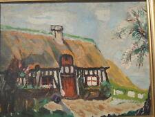 Peinture tableau paysage de campagne Chaumière bretonne tableau signé