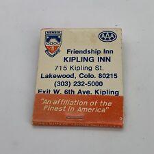 Vintage Friendship Kipling Inn Lakewood, Colorado CO Matchbook Cover Unstruck