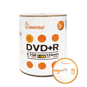 Smart Buy 100 Pack DVD+R 4.7gb 16x Logo Blank Data Video Movie Recordable Disc,