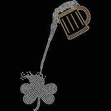 Irish Pouring Shamrock Iron On Hotfix Crystal Diamante T Shirt Motif Patch Gem