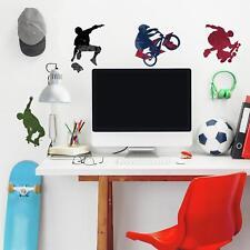 25 New EXTREME SPORTS WALL DECALS Skateboarding Biking Stickers Boys Room Decor