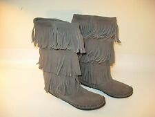 Minnetonka Moccasins 3 Layer Fringe Boots Women's Grey Suede Leather - US 8