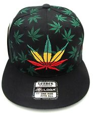 MARIJUANA Leaf Snapback Cap Hat Rasta 420 Pot THC Cannabis Weed  Black NWT