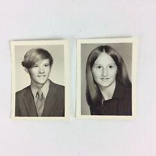 High School Yearbook 2 Photos Teen Boy Girl Suit Tie Dress Straight Hair Vtg 70s