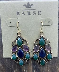 Barse Flaunt Earrings- Mixed Stones- Bronze- NWT