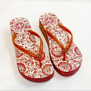 Tory Burch Red Paisley Floral Wedge Flip Flop Sandals Size 6.5 women's