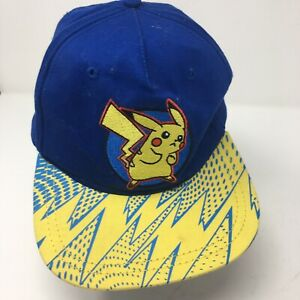2016 Pokemon Pikachu Flat Bill Snap Back Hat Youth Cap OSFM blue yellow- Retro