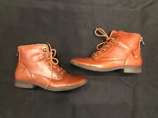 Bass Patricia Women's Size 6.5 M Brown Leather Lace Up Plain Toe Ankle Boot