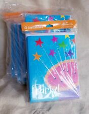 Hallmark Stationary Party Cards 12 Invitations With Cake On Front   LOT of 3 NEW