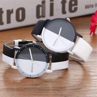 Fashion Simple Casual Men Women's Black & White Leather Strap Quartz Wrist Watch