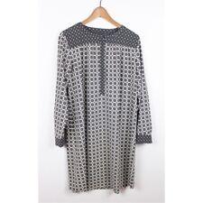 Ann Taylor LOFT Maternity Paisley Print Shift Dress Gray White Belt Long Sleeve