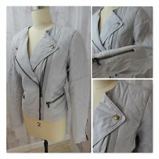 Gap MOTORCYCLE JACKET~GRAY ZIPPERS COTTON HIPSTER GOTH BOMBER Moto Quilted 8/Med