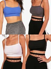 WOMENS LADIES RIBBED SLEEVELESS SQUARE NECK Bandeau Boobtube Bralet CROP TOP