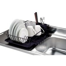 Home Basics DD30235 3Pc Dish Drainer Set Black NEW