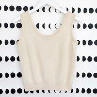 St John Basics Tank Top Size Small Cream Santana Knit Shell Wool Cropped