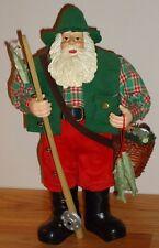 "FISHING FISHERMAN SANTA CLAUS 11.5"" Figure Christmas Decoration"
